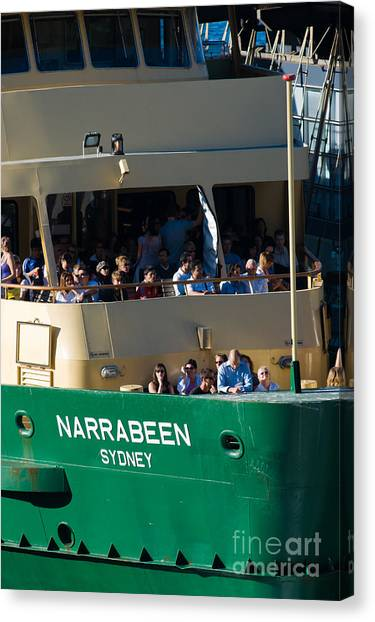 One Of The Iconic Manly Ferries Arrives At Circular Quay In Sydney Full Of Happy Tourists Canvas Print