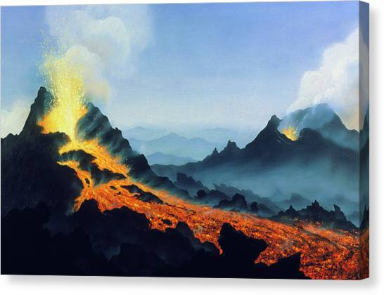 Mount Etna Canvas Print - One Of Two Active Vents On Mt Etna by David Hardy/science Photo Library