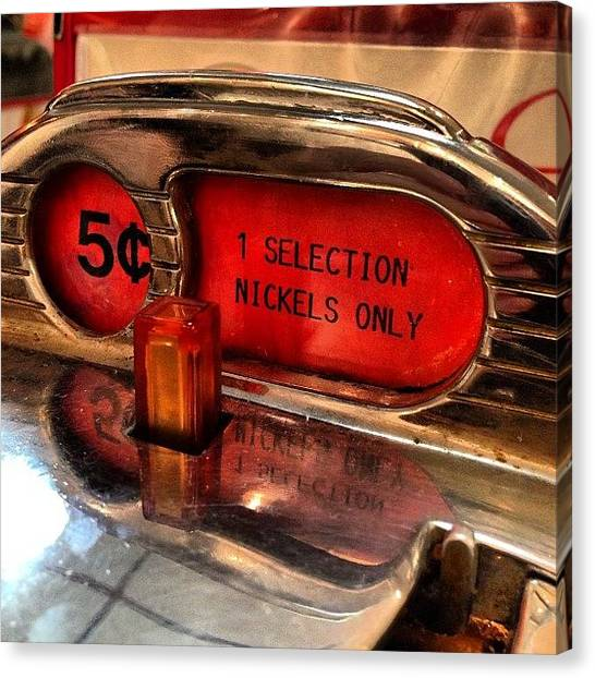 Jukebox Canvas Print - One Selection, 5 Cents. #jukebox by John Kittelsrud
