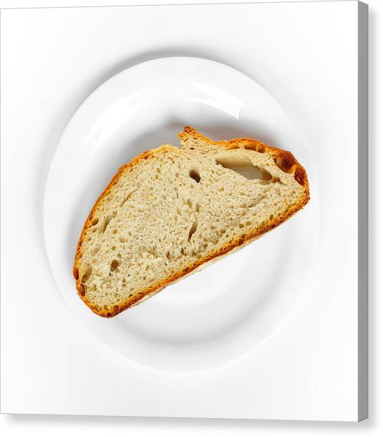 Back Canvas Print - One Slice Of Bread White Plate And Background by Matthias Hauser
