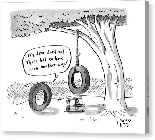 Rope Canvas Print - One Tire Finds Another That Has Hung Itself by Farley Katz