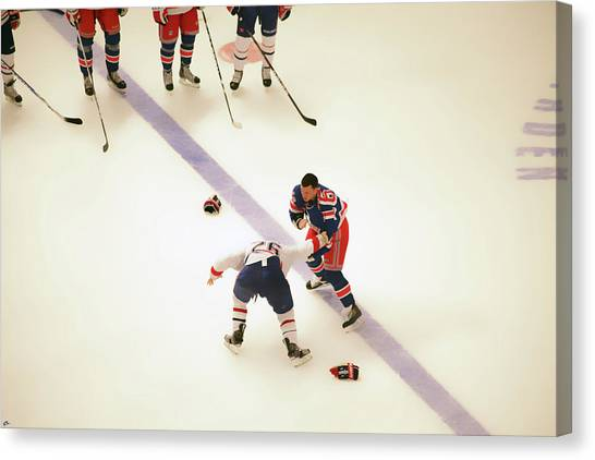 New York Rangers Canvas Print - One Two Punch by Karol Livote