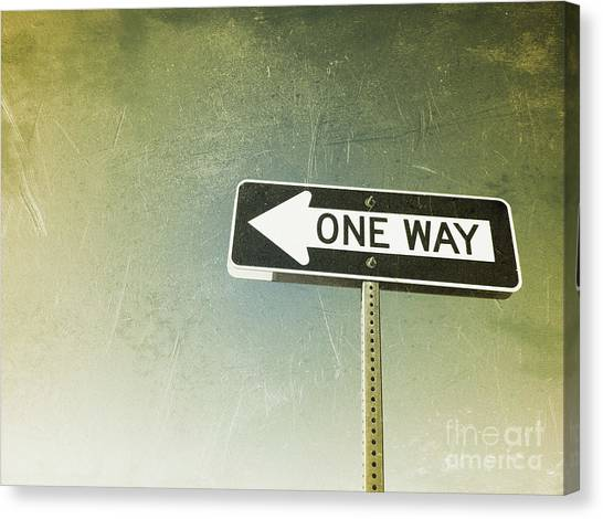 One Way Road Sign Canvas Print