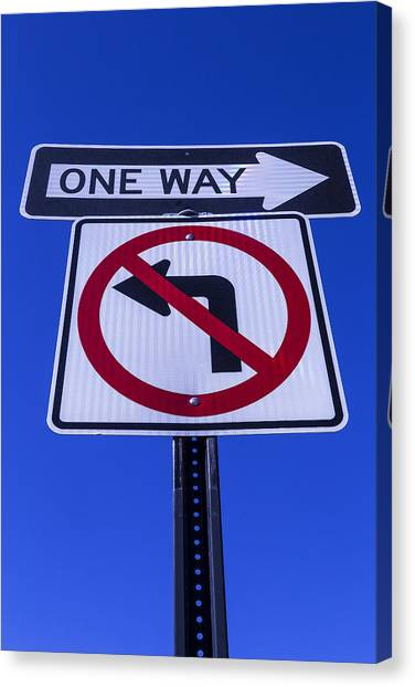 One Direction Canvas Print - One Way Sign by Garry Gay