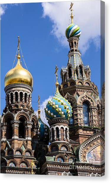 Onion Domes Church Of Spilled Blood Canvas Print