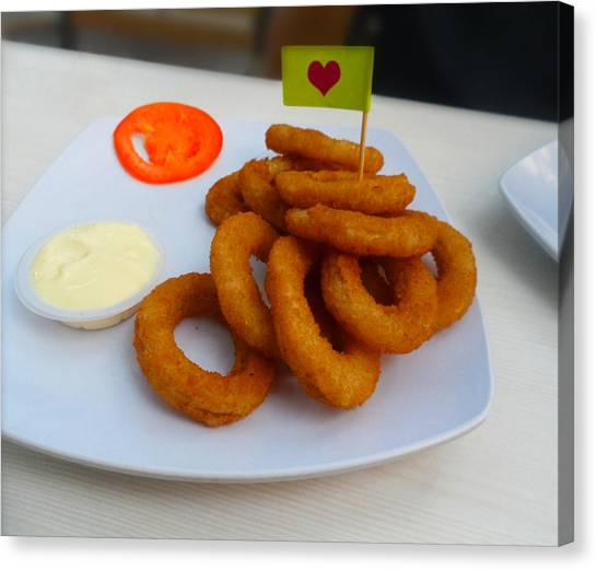 Salad Dressing Canvas Print - Onion Rings With Mayonnaise And Tomato by Ym Chin