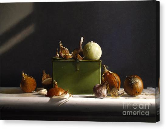 Onion Canvas Print - Onions And Garlic by Lawrence Preston