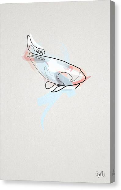 Abstract Art Canvas Print - oneline Fish Koi by Quibe Sarl