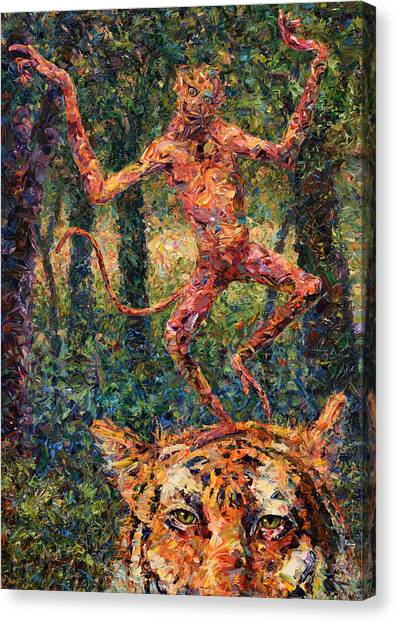 Monkeys Canvas Print - Only A Crazy Monkey Dances On A Tiger's Head by James W Johnson