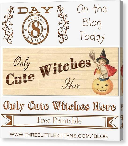 Witches Canvas Print - Only Cute Witches Here #ontheblog by Teresa Mucha