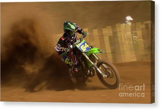 Motocross Canvas Print - only Dust by Angel Ciesniarska