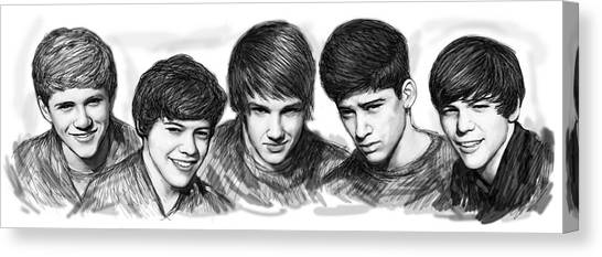 One Direction Canvas Print - Onr Direction Art Long Drawing Sketch Poster by Kim Wang