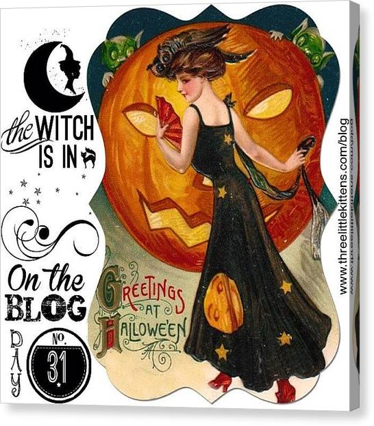 Witches Canvas Print - #ontheblog #today #day31 #free by Teresa Mucha