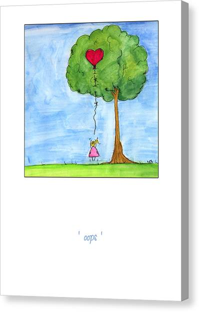 Valentines Day Canvas Print - Oops by Meg Hawkins