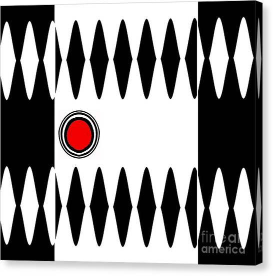 Op Art Black White Red Minimalist Geometric Abstract Print No.277 Canvas Print by Drinka Mercep