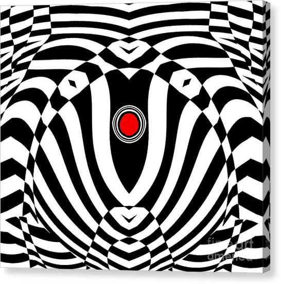 Op Art Geometric Black White Red  Abstract No.383. Canvas Print by Drinka Mercep