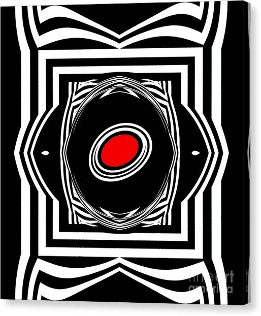 Op Art Geometric Black White Red Abstract Print No.33. Canvas Print by Drinka Mercep