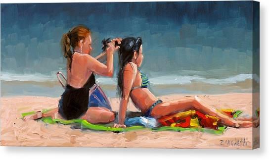 Bikini Canvas Print - Open Air Salon by Laura Lee Zanghetti