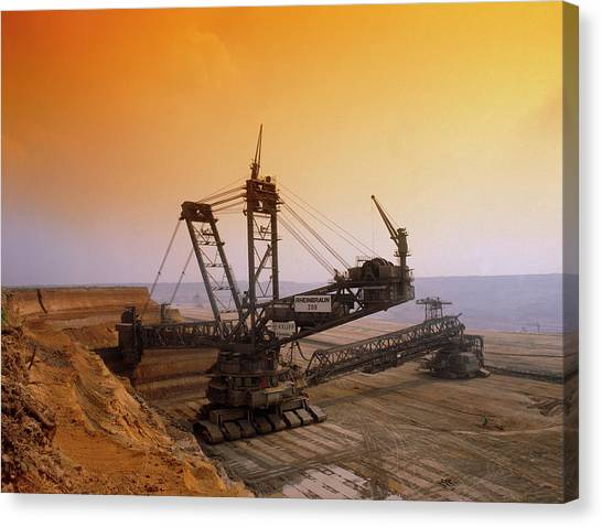 Excavators Canvas Print - Open Cast Coal Mine by Tony Craddock/science Photo Library