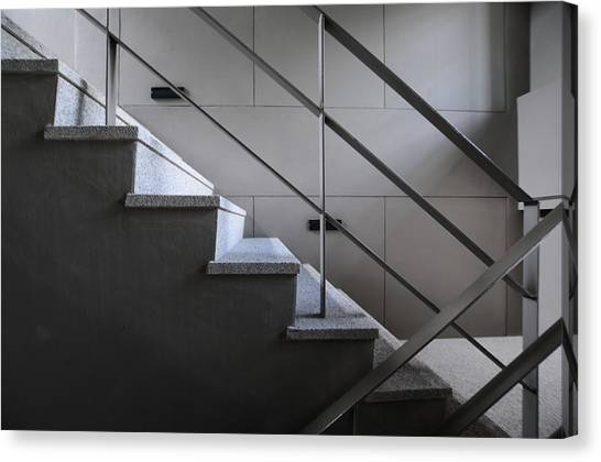 Open Stairwell In A Modern Building Canvas Print by Primeimages