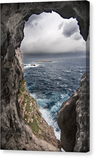 A Natural Window In Minorca North Coast Discover Us An Impressive View Of Sea And Sky - Open Window Canvas Print