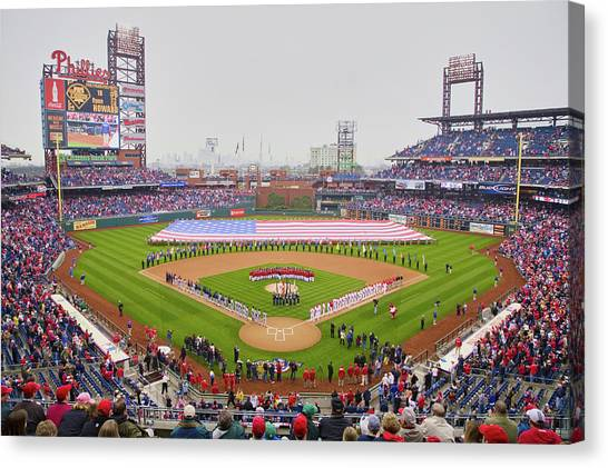 Philadelphia Phillies Canvas Print - Opening Day Ceremonies Featuring by Panoramic Images