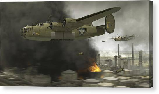 Aviation Canvas Print - Operation Tidal Wave Side View by Robert Perry