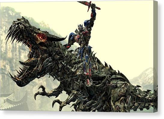Optimus Prime Riding Grimlock Canvas Print