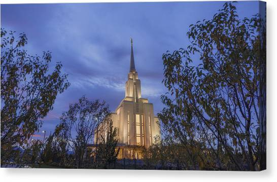 Mountain West Canvas Print - Oquirrh Mountain Temple II by Chad Dutson
