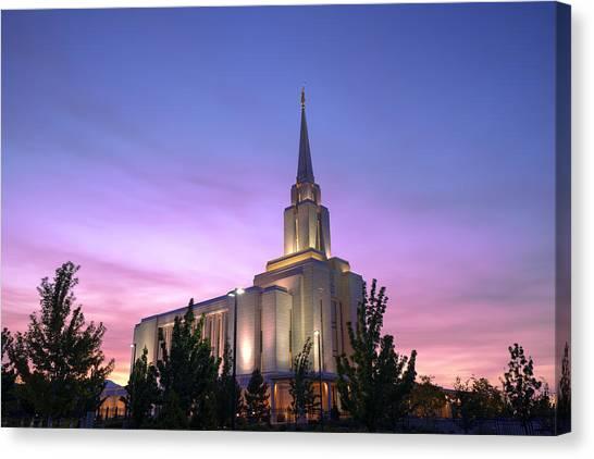 Mormon Canvas Print - Oquirrh Mountain Temple Iv by Chad Dutson