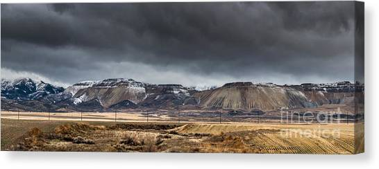 Oquirrh Mountains Winter Storm Panorama 2 - Utah Canvas Print