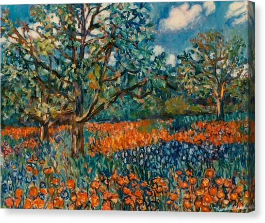 Orange And Blue Flower Field Canvas Print