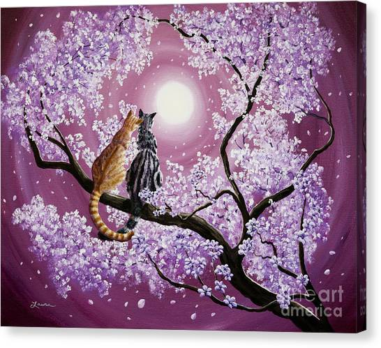 Orange And Gray Tabby Cats In Cherry Blossoms Canvas Print