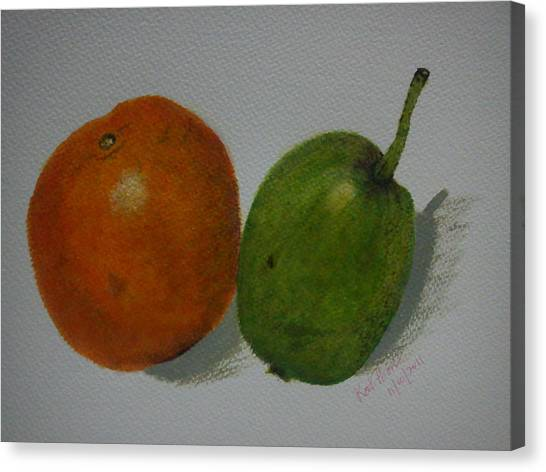 Orange And Pear Canvas Print by Kat Poon
