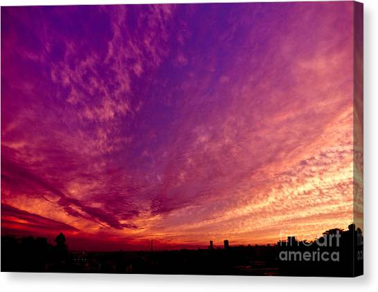 Orange And Purple Clouds Sunset View From The Balcony Canvas Print