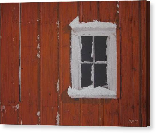 Orange Barn And Snow Canvas Print