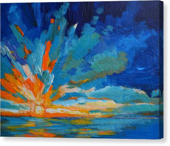 Orange Blue Sunset Landscape Canvas Print