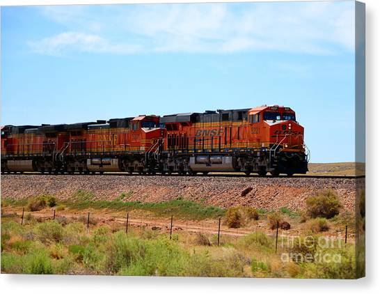 Canvas Print - Orange Bnsf Engines by Christiane Schulze Art And Photography