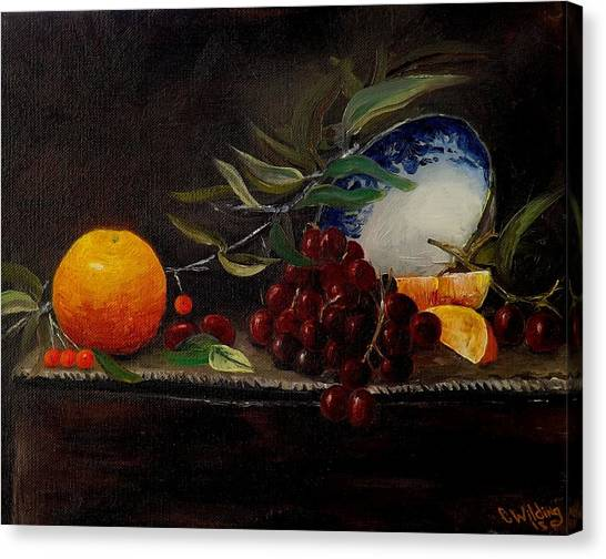 Orange Bowl Grapes Branch Canvas Print