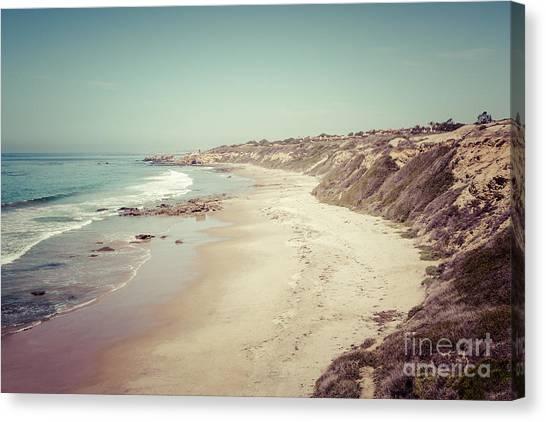Beach Cliffs Canvas Print - Orange County California Retro Photo by Paul Velgos