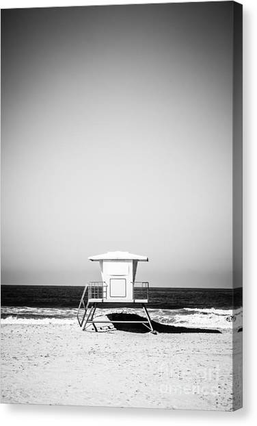Lifeguard Canvas Print - Orange County Lifeguard Tower Black And White Picture by Paul Velgos