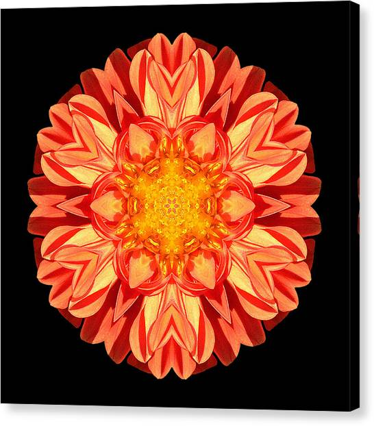 Orange Dahlia Flower Mandala Canvas Print