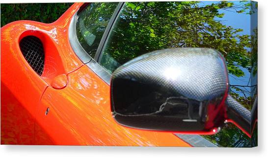 Canvas Print featuring the photograph Orange Ferrari  by Jeff Lowe