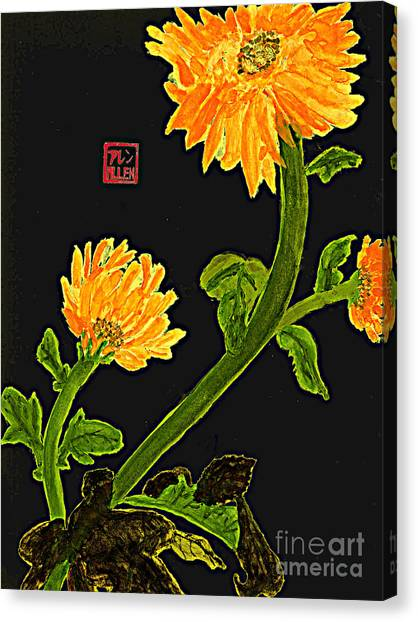 Orange Flowers  Chinese Watercolor Art Canvas Print
