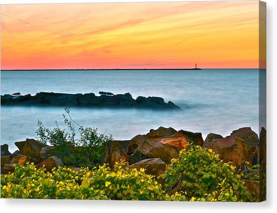Island .oasis Canvas Print - Orange Glow by Frozen in Time Fine Art Photography