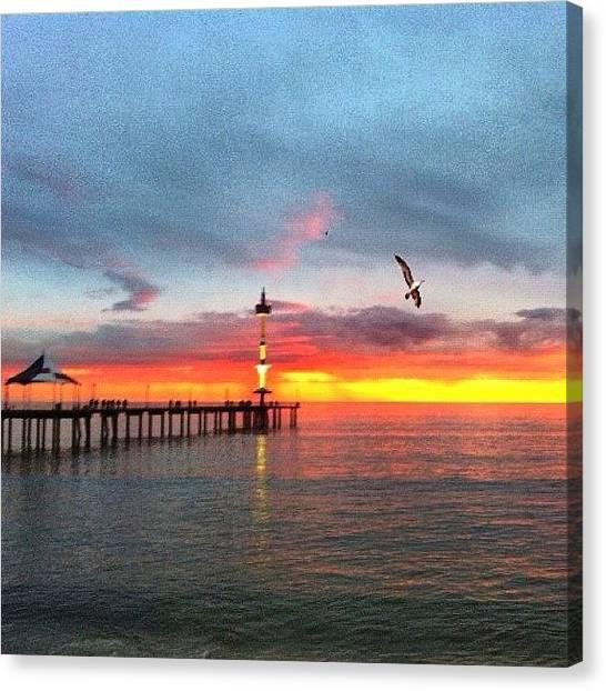 Beach Sunsets Canvas Print - Orange Haze by Cherie Harvey