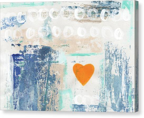 Heart Canvas Print - Orange Heart- Abstract Painting by Linda Woods