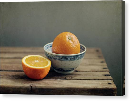 Fruit Canvas Print - Orange In Chinese Bowl And Half Orange by Copyright Anna Nemoy(xaomena)