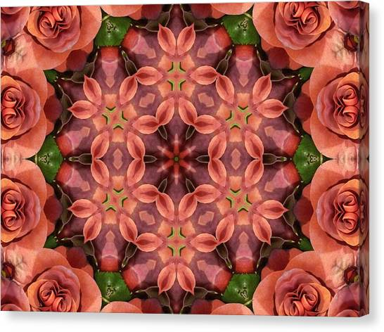 Orange Rose Mandala Canvas Print