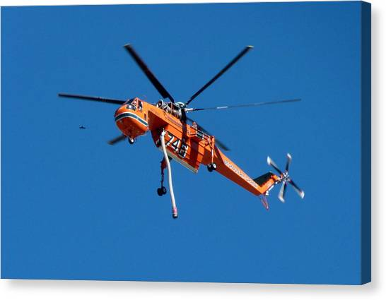 Skycrane Canvas Print - Orange Skycrane Firefighting Helicopter by Jeff Lowe